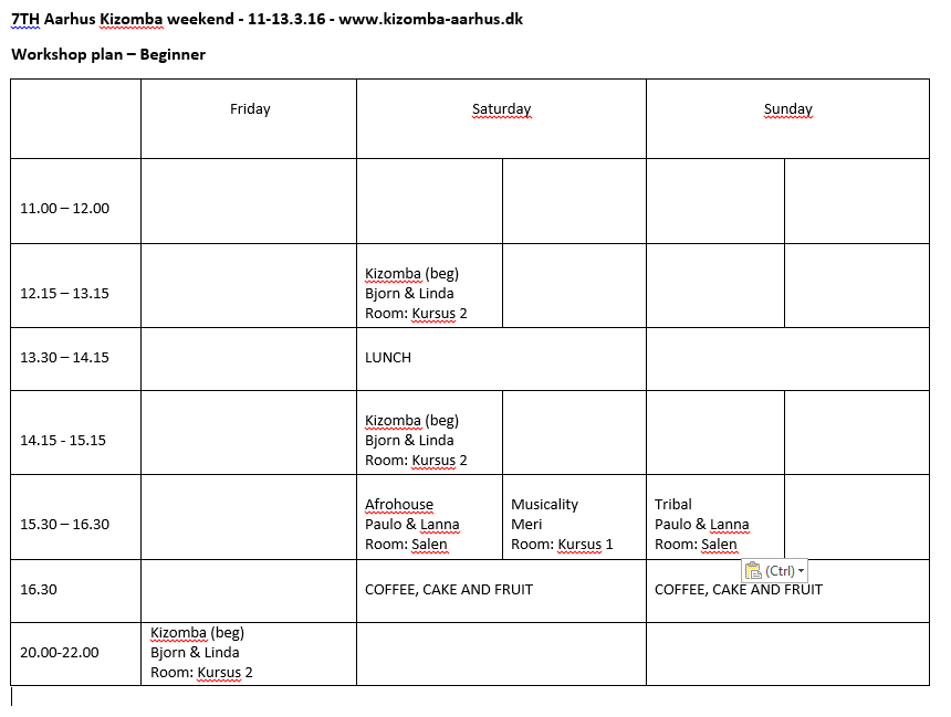 workshop plan - Beginners Boot Camp - 7TH Kizomba weekend - Aarhus - denmark